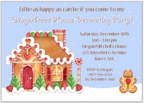 Gingerbread House Holiday Christmas Party Invitations