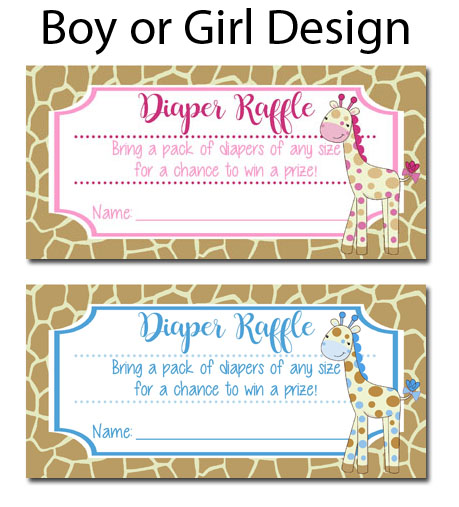Giraffe Baby Shower Diaper Raffle Tickets