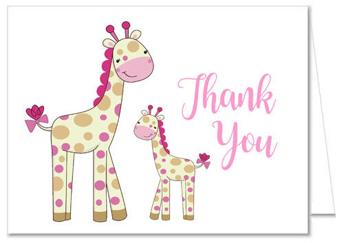 Giraffe Girl Baby Shower Thank You Cards