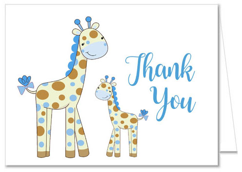 Giraffe Boy Baby Shower Thank You Cards
