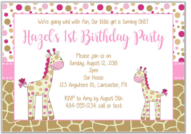 Giraffe Birthday Girl Party Invitations