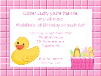Rubber Ducky Birthday Party Invitations Girl