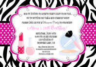 Glamour Girl Makeover Birthday Party Invitations