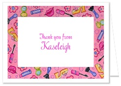 Glamour Girl Makeup Birthday Thank You Note Cards