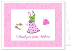 Glamour Girl Makeup Dress Up Party Birthday Thank You Note Cards