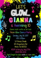 Glow Dance Party Birthday Invitations