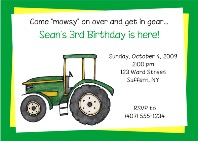 Green Tractor Birthday Party Invitations