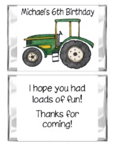 Green Tractor Birthday Mini Candy Wrappers Favors