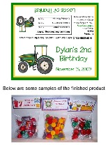 Green Tractor Birthday Party Bag Toppers Favors w/Recloseable Bags