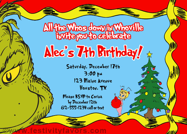 Grinch Christmas Birthday Party Invitations