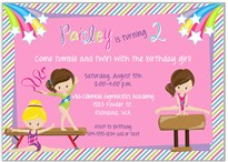 Gymnastics Birthday Party Invitations Girl