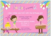Gymnastics Birthday Party Invitations Girl