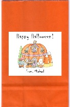Halloween Pumpkin Candy Corn Party Loot Bag Labels Favors
