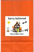 Halloween Haunted House Party Goodie Loot Bag Labels