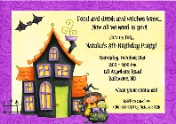 Halloween Party Haunted House Witch Invitations