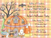Halloween Party Pumpkin Candy Corn Invitations