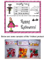 Halloween Pink Witch Party Bag Favors Toppers
