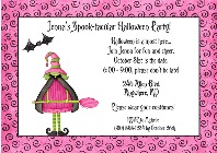 Halloween Party Pink Witch Invitations