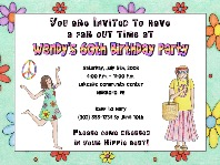 Hippie 60s 70s Retro Birthday Party Invitations