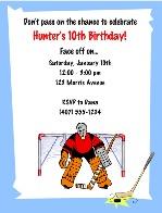 Hockey Birthday Party Invitations