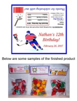 Hockey Birthday Party Bag Toppers Favors w/Recloseable Bags