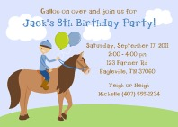 Horseback Riding Birthday Party Invitations Boy