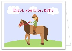 Horseback Riding Birthday Party Thank You Note Cards