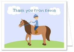 Horseback Riding Boy Birthday Party Thank You Note Cards