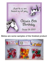 Horse Birthday Party Bag Toppers Favors w/Recloseable Bags