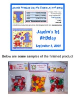 Hugs and Stitches 1st Birthday Boy Party Bag Toppers Favors