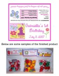 Hugs and Stitches 1st Birthday Girl Party Bag Toppers Favors