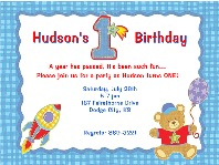 Hugs and Stitches 1st Birthday Boy Party Invitations
