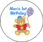 Hugs and Stitches 1st Birthday Boy Round Envelope Seals
