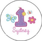 Hugs and Stitches 1st Birthday Girl Round Envelope Seals