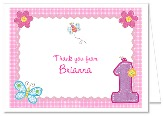 Hugs and Stitches 1st Birthday Girl Thank You Note Cards