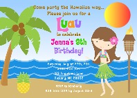 Hula Girl Luau Birthday Party Invitations