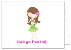 Hula Girl Luau Thank You Note Cards Personalized