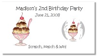 Ice Cream Party Scratch Off Tickets Personalized