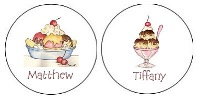 Ice Cream Party Round Envelope Seals