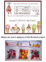 Ice Cream Birthday Party Bag Toppers Favors w/Recloseable Bags