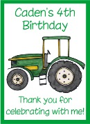 Green Tractor Birthday Crayon Box Labels Favors