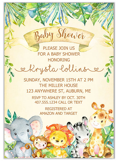Jungle Animals Baby Shower Invitations