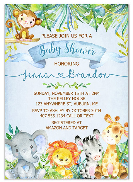 Jungle Animals Safari Boy Baby Shower Invitations