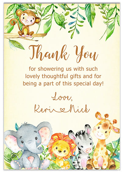 Jungle Baby Shower Thank You Cards