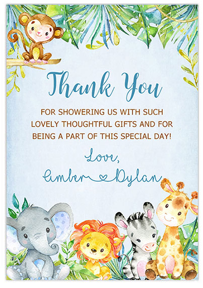 Jungle Animals Safari Boy Baby Shower Thank You Cards
