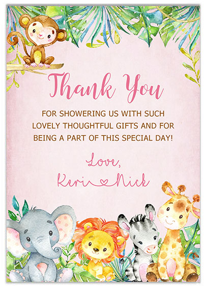 Jungle Animals Safari Girl Baby Shower Thank You Cards