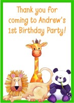 Jungle Animals Birthday Personalized Crayon Box Labels