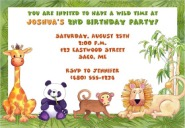 Jungle Animals Birthday Party Invitations