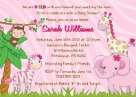 Jungle Animals Baby Shower Invitations Girl