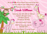 Jungle Animals Girl Baby Shower Invitations
